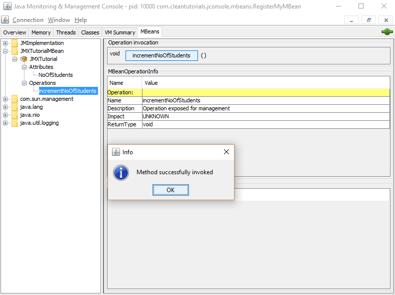 Invoke operation on MBean using remote management application.