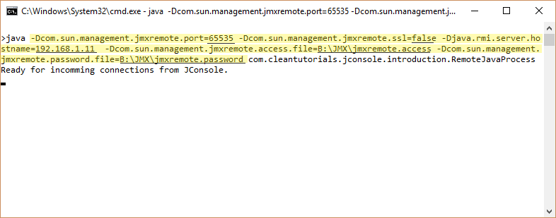 Remote JMX Connection example using JConsole