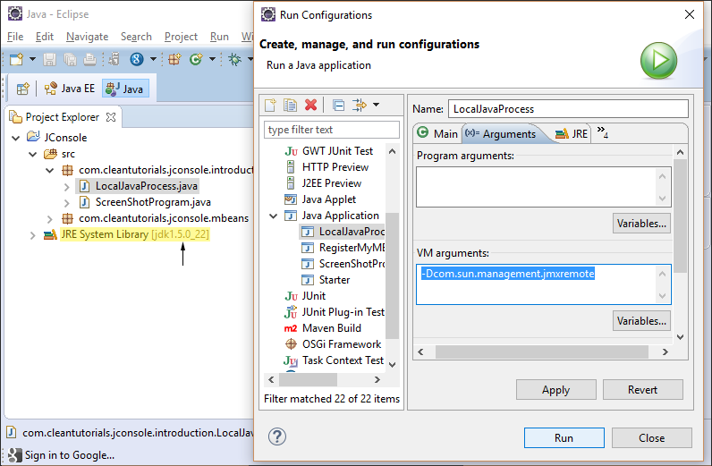 Running application with VM arguments to enable JMX Monitoring.