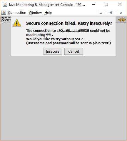 JConsole remote connection without SSL.