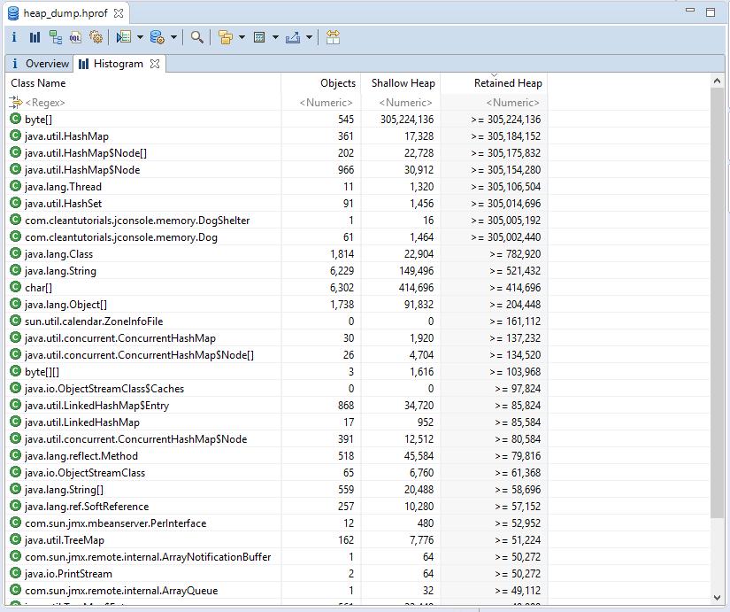eclipse memory analyzer histogram tab